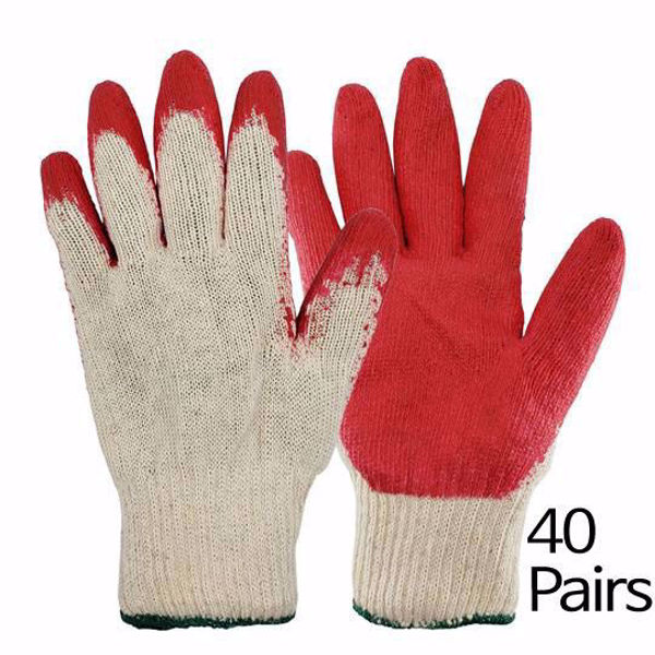 [The Elixir] String Knit Palm, Latex Dipped Nitrile Coated Work Gloves 40Pairs for General Purpose, Safety Working Gloves, Made in Korea