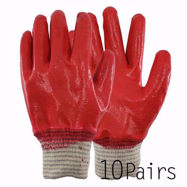 [The Elixr] Red Latex Fully Dipped Nitrile Coated Gardening Working Gloves Safety Gloves 10Pairs